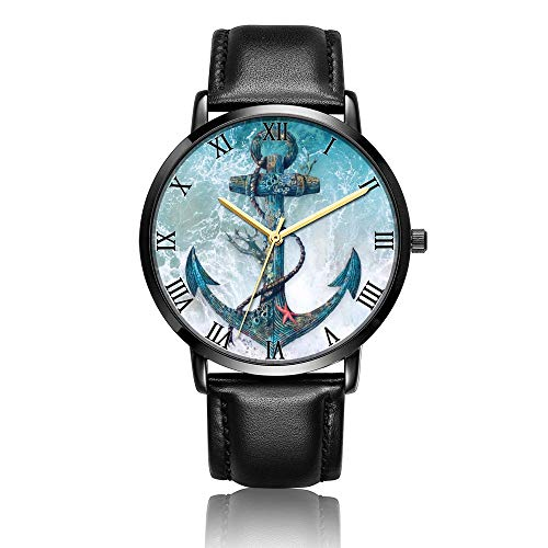 Whiterbunny Customized Anchor and Ropes Wrist Watch Unisex Analog Quartz Fashion Black Leather Bracelet Wristwatch for Women and Men