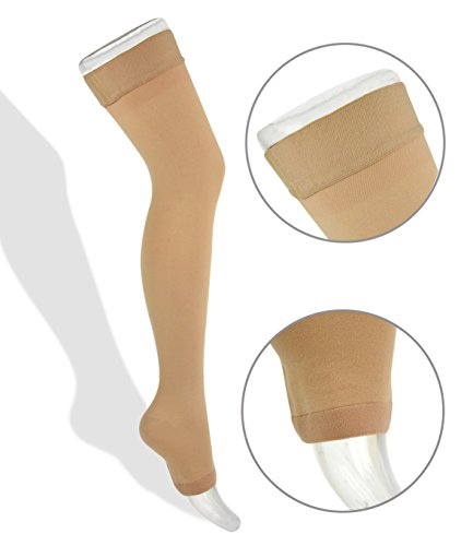 Thigh High Compression Stockings 20-30mmHg with Open Toe from Lemon Hero – Best Leg Support Hose for Varicose Vein Treatment, Swollen Legs (Large, Beige)