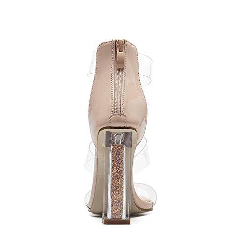 Di Discoteca Scarpe del Tacco Sandali in Nero Vestito PVC alto EUR piede Festa Dito Sexy 3 trasparente 35 Lavoro Donna UK spessore Sbirciare Cristallo nY0HwxvwdO