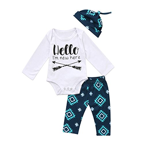 Guogo Baby Boy Girl 3pcs Outfit Hello I'm New Here Printing Romper+ Long Pants+Hats (White, 0-3M) (Im New Here Onesie)