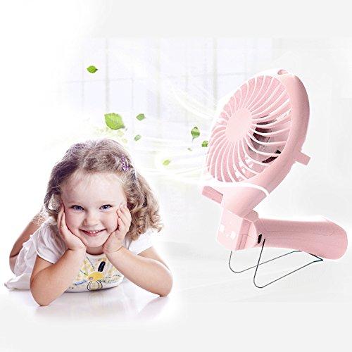 USB mano ventilador mini ventilador ventiladores tranquila Fan portátil ventilador velocidad de adaptación con batería recargable azul azul … (Rosado)