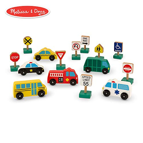 (Melissa & Doug Wooden Vehicles and Traffic Signs With 6 Cars and 9 Signs)