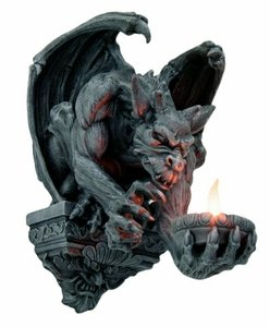 - Menacing Winged Gargoyle Candle Holder Wall Sconce Sculpture Wall Decor 12.5 Inches