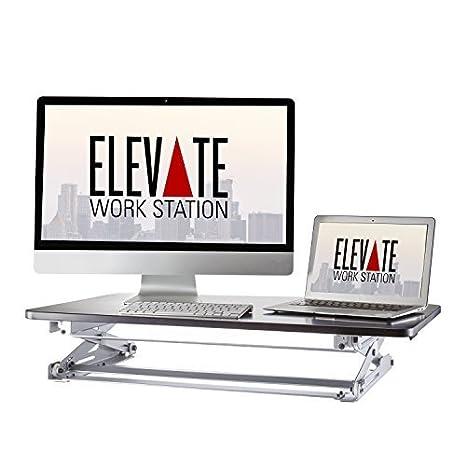 ELEVATE EWS-M1 Standing Desk, 35-Inch, Black Hardwood