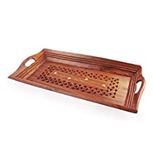 Wood Handmade 15 X 7 Inch Tray - Wooden Serving Tray with Brass Etchings
