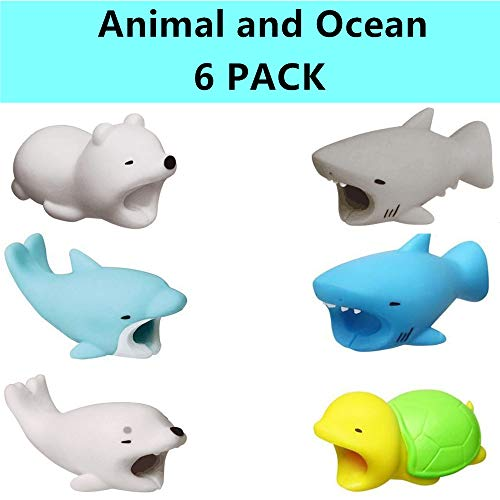 Price comparison product image DECVO Cable Protector iPhone iPad Cable Android Samsung Galaxy Cord Plastic Cute Land Animals Phone Accessory Protects USB Charger Data Protection Cover Chewers Earphone Cable Bite 6 PC (BSDSPT)