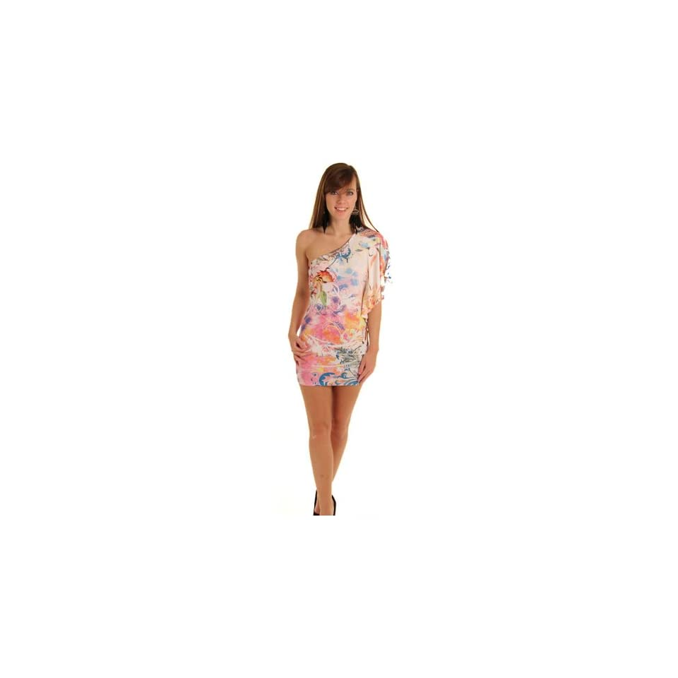 DHStyles Women's Sexy One Shoulder Tattoo Print Dress