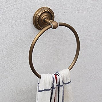 Guma Traditional Chinese Pattern Oil Rubbed Bronze Finish Towel Ring Holder Wall Mounted Bath Towel Hanger Robe Holder Bathroom Accessory (Antique Brass-3)