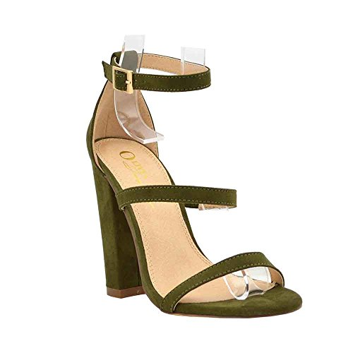 nkle Strap Strappy Chunky High Heel Sandals for Formal Dress Wedding Party (10, Olive) ()