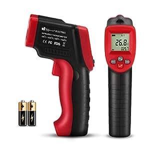 Termómetro Infrarrojo -50 ℃ a 420 ℃, EC Technology Pistola de Temperatura Sin Contacto con Pantalla LCD y Función de Almacenamiento de Datos, Medidor Infrarrojo Digital Láser IR Sin Contacto - Rojo y Negro