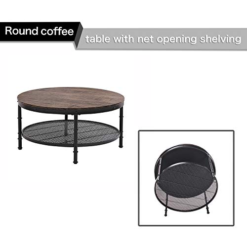 GreenForest Coffee Table Round Wooden Design Metal Legs for Living Room, Walnut