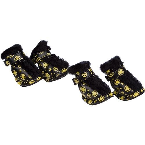 Pet Life F21YBMD Black Yellow Fur Predective BootsSet of 4 MD