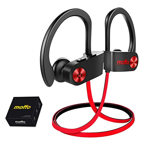 Wireless Headphones, Moffo IPX7 HiFi Bass Stereo in Ear Sport Sweatproof Earbuds Noise Cancelling Headset with Built-in Mic for Sport Gym Running Workout 8 Hrs (Red&Black)