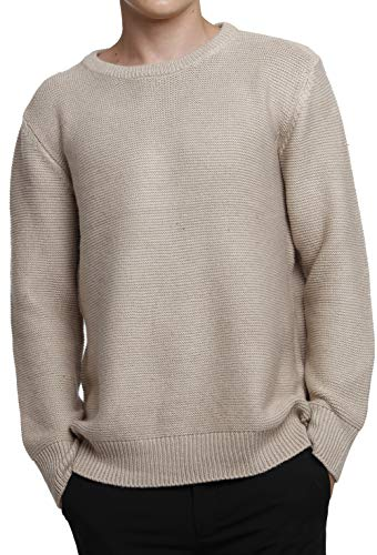 Liny Xin Men's Cashmere Knitted Casual Crew Neck Long Sleeve Loose Winter Wool Pullover Sweater Tops (M, Tan)