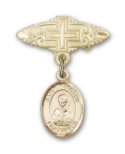 Icecarats Or Bijoux De Créateurs Rempli R. Fléole Broche De Badge Charme Avec Une Croix X 3/4