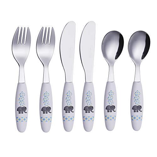 EXZACT - 3 pieza para niños cubertería - 1 x cena cuchillo, 1 x cena tenedor, 1 x cena cuchara (Oruga x 3)