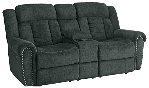 (Homelegance Nutmeg Upholstered Double Reclining Loveseat with Console, Charcoal)