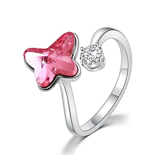SUE'S SECRET Swarovski Element Ring Pink Butterfly Stone with Swarovski Crystal, Ajustable M Size, Fashion Butterfly Rings for Women Girls