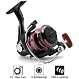 Joyday Fishing Reel, Spinning Reel, Ultralight 5.2:1 Gear Ratio, 12 Ball Bearings, 39.5LB Carbon Fiber Drag, Reversible Handle for Left and Right Retrieve, Perfect for Freshwater and Saltwater