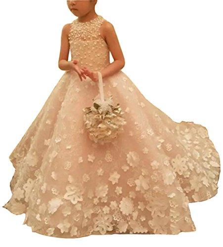 Dreammade children Girl's Handmade Flower Beading Long Dress Big Bow Flower Girl Gown