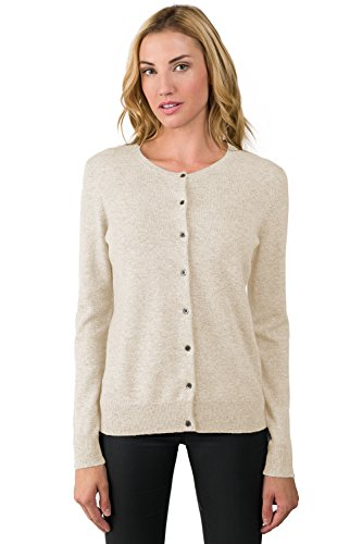 JENNIE LIU Women's 100% Cashmere Button Front Long Sleeve Crewneck Cardigan Sweater (PM, Oatmeal) (Petite One Sweater Button)