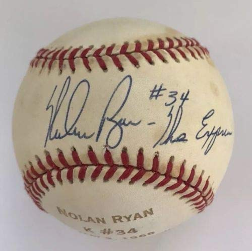"NOLAN RYAN AUTO AUTOGRAPH SIGNED STRIKEOUT #34 ONL BASEBALL WITH INSCRIPTION""THE EXPRESS"" NEW YORK METS HOF LOA JSA"