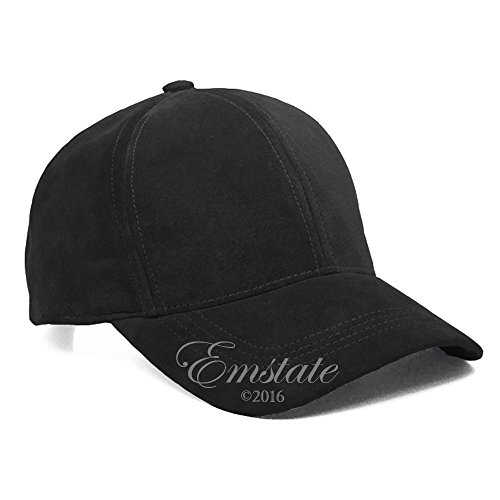 Emstate Black Suede Leather Adjustable Baseball Cap Hat Made in USA (One Size)