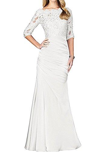 Spitze Weiß Abendkleider mia Abschlussballkleider La Langarm Lang Etuikleider Braut Brautmutterkleider Damen wSCRCqvTtx