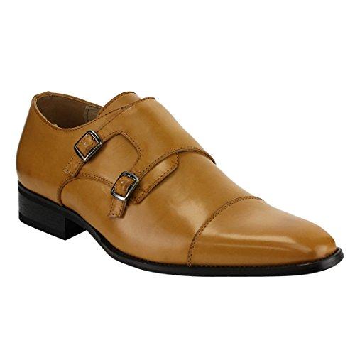 Beston EA28 Men's Double Monk Strap Slip On Dress Shoes, Color:LIGHT BROWN, - Colour Brown Light