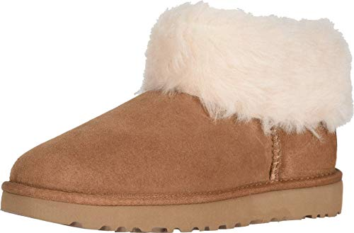 UGG Women's Classic Mini Fluff Ankle Boot, Chestnut, 7 M US