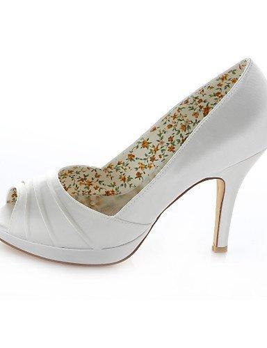 ShangYi Schuh Damen - Hochzeitsschuhe - Absätze / Zehenfrei / Rundeschuh - Sandalen - Hochzeit / Kleid / Party & Festivität - Elfenbein 4in