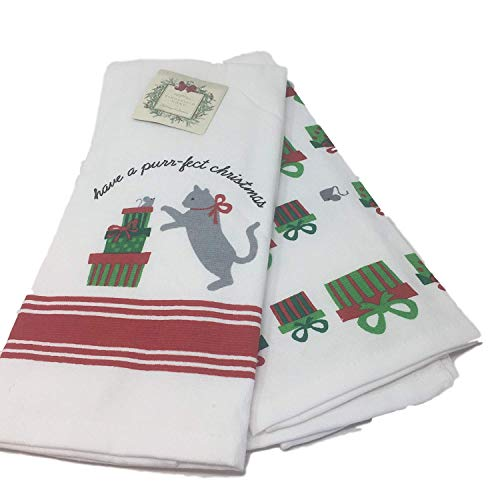 Ridgefield Home Cat with Presents Have a Purr-fect Christmas Set of 2 Coordinating Kitchen ()