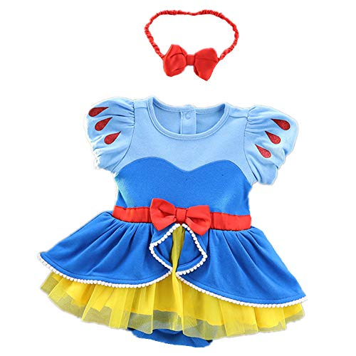 Tsyllyp Baby Girls Snow White Princess Halloween Costume Birthday Bodysuit Romper Tutu Headband Outfits