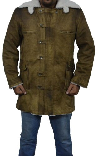 [Mshc Mens Real Goat Bane Leather Long Coat with Swedish Shearling Sizes S-3xl Distress Brown Color (SMALL for chest size] (Dark Knight Costumes Real)
