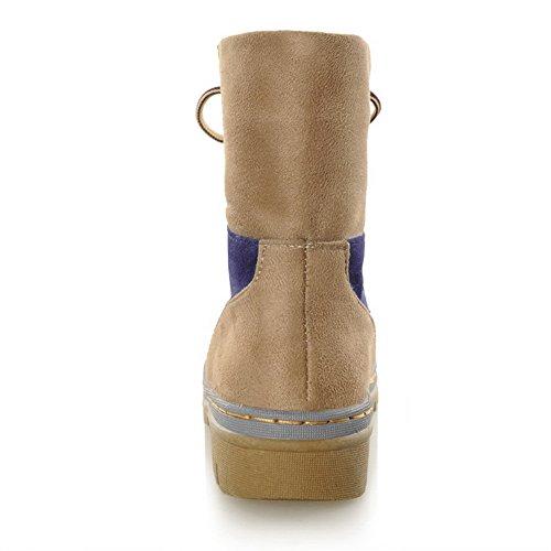 Amoonyfashion Mujer Round Round Closed Toe Low Heels Nubuck Leather Assorted Colors Botas Con Vendaje Azul