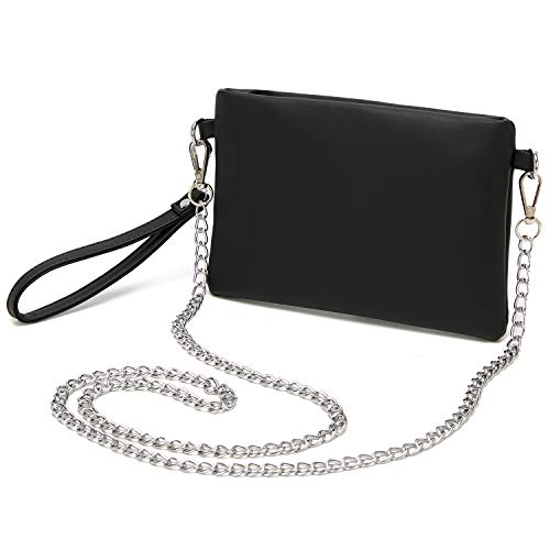 Forestfish PU Leather Wristlet Clutch Purse Crossbody Shoulder Bag Evening Bags with Chain Wristlet Strap for Women Girls, Black