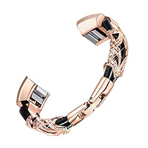 """bayite Leather Bands Compatible Fitbit Alta and Alta HR, Metal Clasp Leather Cord Wristband with Rhinestone Bling, (Rose Gold with Rhinestone, 5.5"""" - 6.7"""")"""