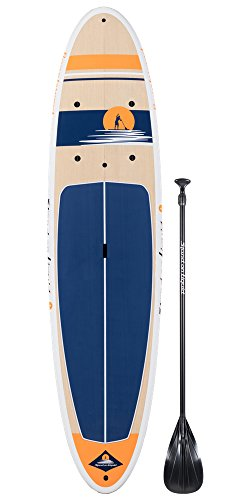 Stand on Liquid Beachwood LT 11 Foot All Around Surf Stand Up Paddle Board SUP Package Includes Fiberglass Adjustable Paddle, Cargo Net, Carrying Handle, Removable Fin