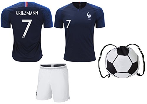 France Griezmann #7 Soccer Jersey & Shorts Kids Youth Sizes Football World Cup Premium Gift ✓ BONUS Soccer Backpack (YS 6-8 Years, Home)