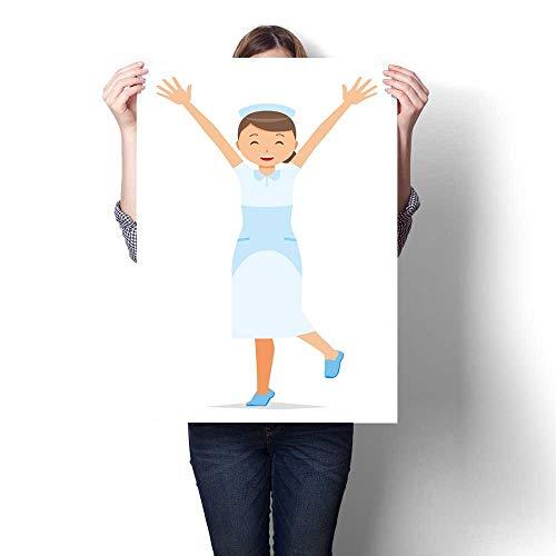 (homehot Poster Prints A Woman Nurse Wearing a Nurse Cap and a White Garment Raises his Hands Decorative Fine Art Canvas Print Poster K 32