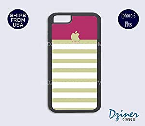 iPhone 6 Plus Case - Tea White Stripes Pink Top iPhone Cover