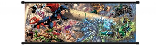 Justice League Comic Fabric Wall Scroll Poster (32 x 12) Inches (Justice League Fabric Poster)