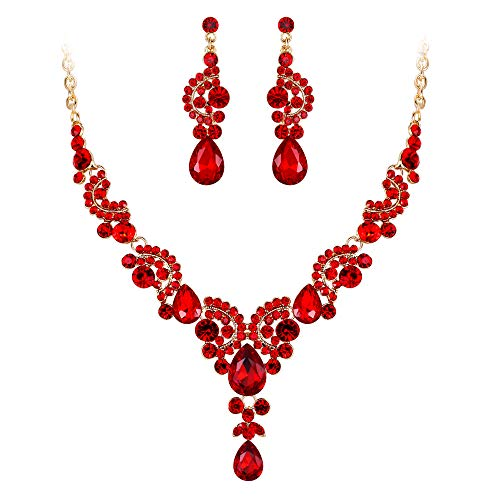 (EVER FAITH Austrian Crystal Gorgeous Wedding Floral Wave Teardrop Necklace Earrings Set Red Gold-Tone)