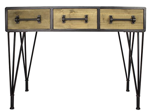 Heather Ann Creations Soho Collection, Industrial Style, 3-Drawer Console Table, Wood and Black ()