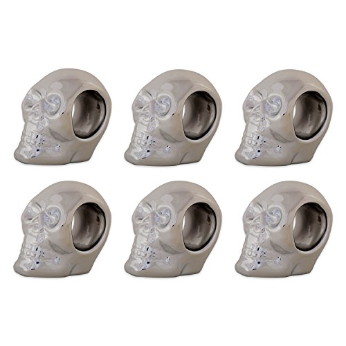 DII CAMZ10887 Thanksgiving or Fall Napkin Rings, Set of 6, Halloween Silver Skull, 6 Pack by DII