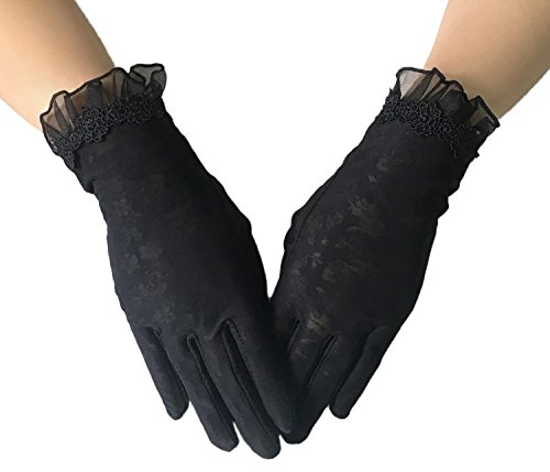 Women Driving Sunscreen Slip Gloves Cotton Gloves Breathable Lace Bow (One size, 3 Black)