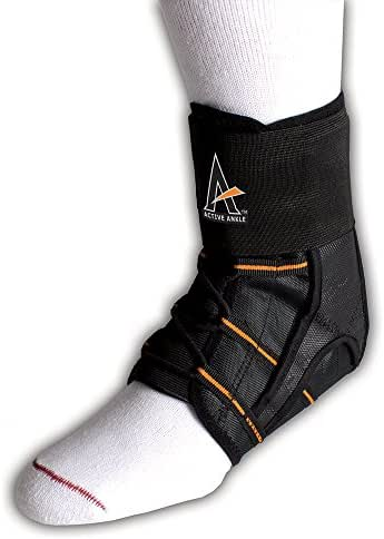 Active Ankle Power Lacer Premium Lace-Up Ankle Brace, Ankle Stabilizer for Protection & Sprain Support, Breathable Quality Athletic Braces with Laces to Wear Over Compression Socks, Various Sizes