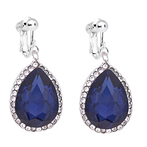 (Fashion Womens White Gold Plated Screw Back Clip on Earrings Black Blue Waterdrop Rhinestone Dangle Prom)