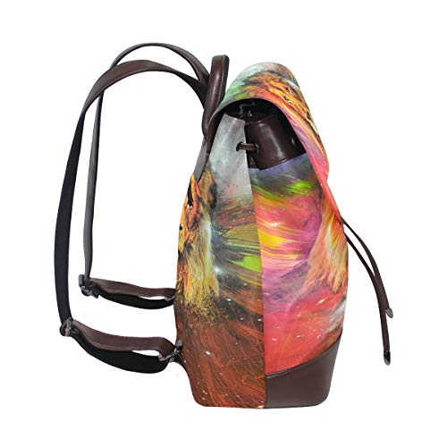Kvinnor PU-läder lejon ryggsäck handväska resa skola axelväska ledig dagväska