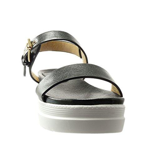 Angkorly - Chaussure Mode Sandale Mule plateforme femme lanière brillant Talon compensé plateforme 5 CM - Noir